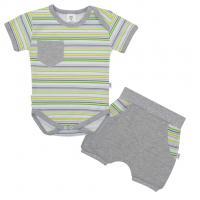 Body a kraťasy New Baby Perfect Summer stripes , Velikost - 56 , Barva - Šedá