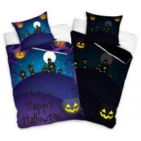 Obliečky Halloween Cintorín svietiaci , Rozměr textilu - 140x200 , Barva - Tmavo fialová