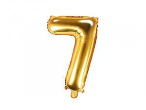 Balónik číslo 7 - 35 cm , Barva - Zlatá