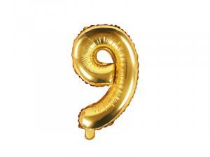 Balónik číslo 9 - 35 cm , Barva - Zlatá