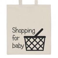 Nákupní taška přírodní Shopping for baby , Barva - Béžová