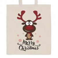 Nákupní taška přírodní Merry Christmas , Barva - Béžová