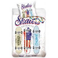 Obliečky Skateboardy Authentic skaterov , Barva - Biela , Rozměr textilu - 140x200