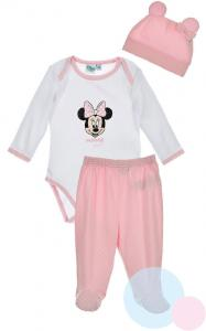 Body, polodupačky a čepička Minnie , Barva - Ružovo-biela , Velikost - 56