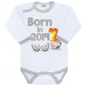 Body s potiskem New Baby Born in 2019 , Barva - Šedo-bílá , Velikost - 56