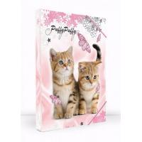 Box na sešity Kočky A5 , Barva - Svetlo ružová
