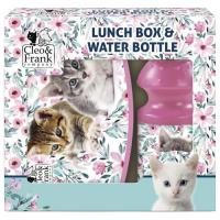 BOX NA SVAČINU A LÁHEV NA PITÍ Kočky , Velikost lahve - 330 ml , Barva - Ružová