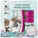 BOX NA DESIATU A fľaša na pitie Mačiatka , Barva - Tmavo ružová