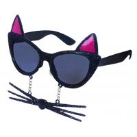 Brýle karnevalové kočka s vousy , Barva - Čierna