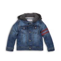 Bunda džínsová s kapucňou , Barva - Modrá , Velikost - 104
