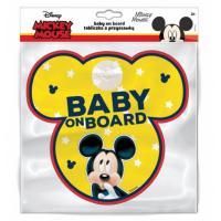 Ceduľka s prísavkou Dieťa v aute Mickey Mouse , Barva - Žltá