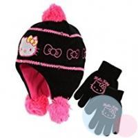 Čiapka a rukavice Hello Kitty , Velikost čepice - 52 , Barva - Čierna