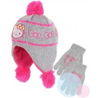 Čiapka a rukavice Hello Kitty , Velikost čepice - 54 , Barva - Šedá