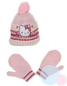 Čiapka a rukavice Hello Kitty , Velikost čepice - 48 , Barva - Ružová