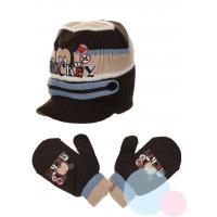 Čiapka a rukavice Mickey baby , Velikost čepice - 48 , Barva - Hnedá