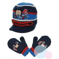 Čiapka a rukavice Mickey baby , Velikost čepice - 48 , Barva - Tmavo modrá