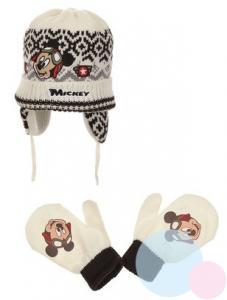 Čiapka a rukavice Mickey , Velikost čepice - 48 , Barva - Krémová