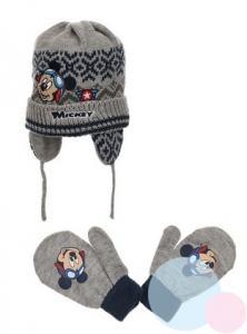 Čiapka a rukavice Mickey , Velikost čepice - 48 , Barva - Šedá