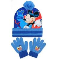 Čiapka a rukavice Mickey , Velikost čepice - 52-54 , Barva - Světlo modrá