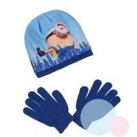 ČIAPKA A RUKAVICE MIMONI , Velikost čepice - 52 , Barva - Tmavo modrá