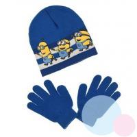 Čiapka a rukavice Mimoni , Velikost čepice - 52 , Barva - Modrá