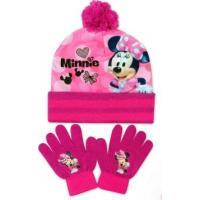 Čiapka a rukavice Minnie , Velikost čepice - 52-54 , Barva - Malinová