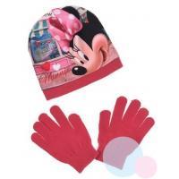Čiapka a rukavice Minnie , Barva - Malinová , Velikost čepice - 52