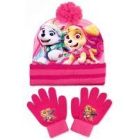 Čepice a rukavice Tlapková Patrola , Velikost čepice - 52-54 , Barva - Svetlo ružová