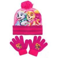 Čepice a rukavice Tlapková Patrola , Velikost čepice - 52-54 , Barva - Tmavo ružová