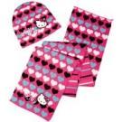 Čiapka a šála Hello Kitty , Barva - Malinová , Velikost čepice - 52