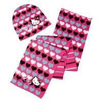 Čiapka a šála Hello Kitty , Velikost čepice - 52 , Barva - Malinová