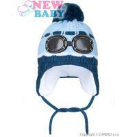 Čiapka Okuliare , Velikost - 104 , Barva - Světlo modrá