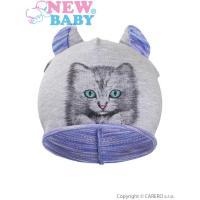 Čiapka mačička , Velikost - 110 , Barva - Fialová