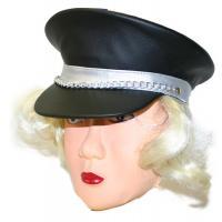 Čepice koženková s vlasy , Barva - Čierna