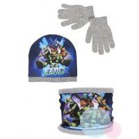 Čiapka, rukavice a nákrčník Ninja Korytnačky , Velikost čepice - 52 , Barva - Šedá