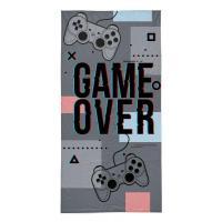 Osuška Game Over grey  Bavlna , Barva - Šedá , Rozměr textilu - 70x140