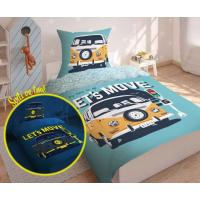 Obliečky Busík svietiaci , Barva - Modro-zelená , Rozměr textilu - 140x200
