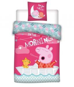 Povlečení do postýlky Peppa Pig parník , Barva - Tmavo ružová , Rozměr textilu - 100x135