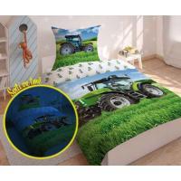 Obliečky Traktor green svietiaci , Barva - Zelená , Rozměr textilu - 140x200
