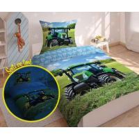 Obliečky Traktor svietiaci , Barva - Modrá , Rozměr textilu - 140x200