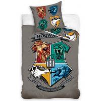 Povlečení Harry Potter Erb Lycea Hogwarts , Barva - Šedá , Rozměr textilu - 140x200