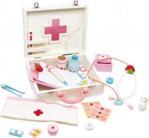 Dětský dřevěný doktorský kufřík Isabel , Barva - Bílo-růžová