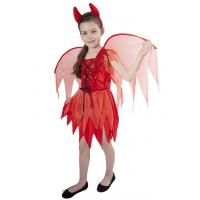Kostým Čertice s křídly , Velikost - M , Barva - Červená