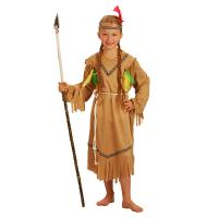 Kostým Indiánka s čelenkou , Velikost - M , Barva - Hnedá
