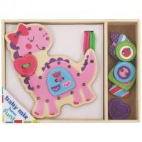 Dřevěná provlékací hračka Baby Mix Dino , Barva - Ružová