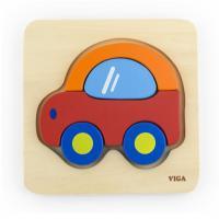 Dřevěné puzzle pro nejmenší Viga Auto , Barva - Barevná