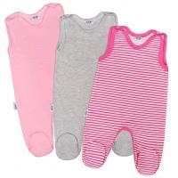 Dupačky New Baby Classic 3ks , Barva - Šedo-růžová , Velikost - 50