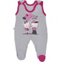 Dupačky New Baby Love Mouse , Barva - Šedo-růžová , Velikost - 50