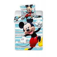Povlečení do postýlky Mickey Happy , Barva - Světlo modrá , Rozměr textilu - 100x135