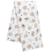 Flanelová plienka Mačičky , Barva - Bílo-hnědá , Rozměr textilu - 70x80